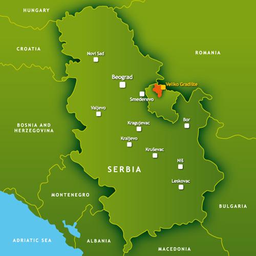 Mapa Srbije sa lokacijom Srebrnog jezera